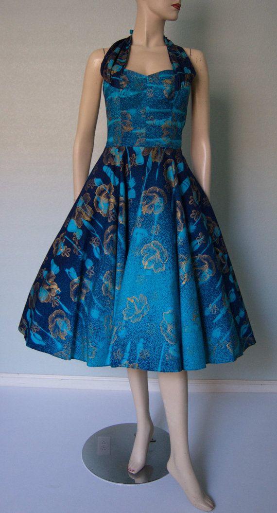 2a9941b3e42 1950s Cotton Halter Dress    Hawaiian Label    by KittyGirlVintage ...