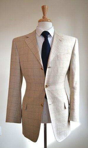 Canali Window Pane Sport Coat Jacket Silk Linen Wool Blend