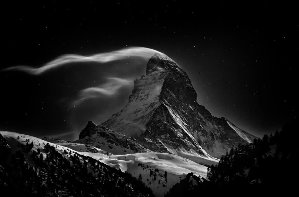 The Atlantic's In Focus  The Matterhorn: Night Clouds #2 -- The Matterhorn, 4478 m, at full moon. (© Nenad Saljic/National Geographic Photo Contest) - Via In Focus: http://theatln.tc/V2D9xN