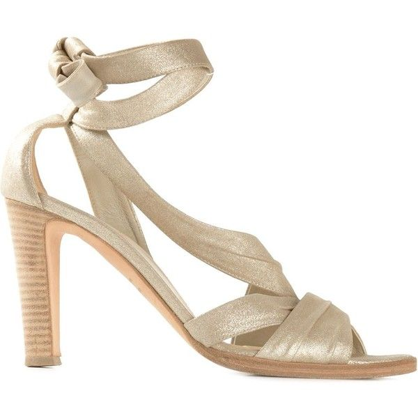 Hermès Vintage Pleated Strap Sandals (7.088.800 IDR) ❤ liked on Polyvore featuring shoes, sandals, metallic, chunky sandals, open toe sandals, champagne sandals, ankle strap high heel sandals and ankle tie sandals