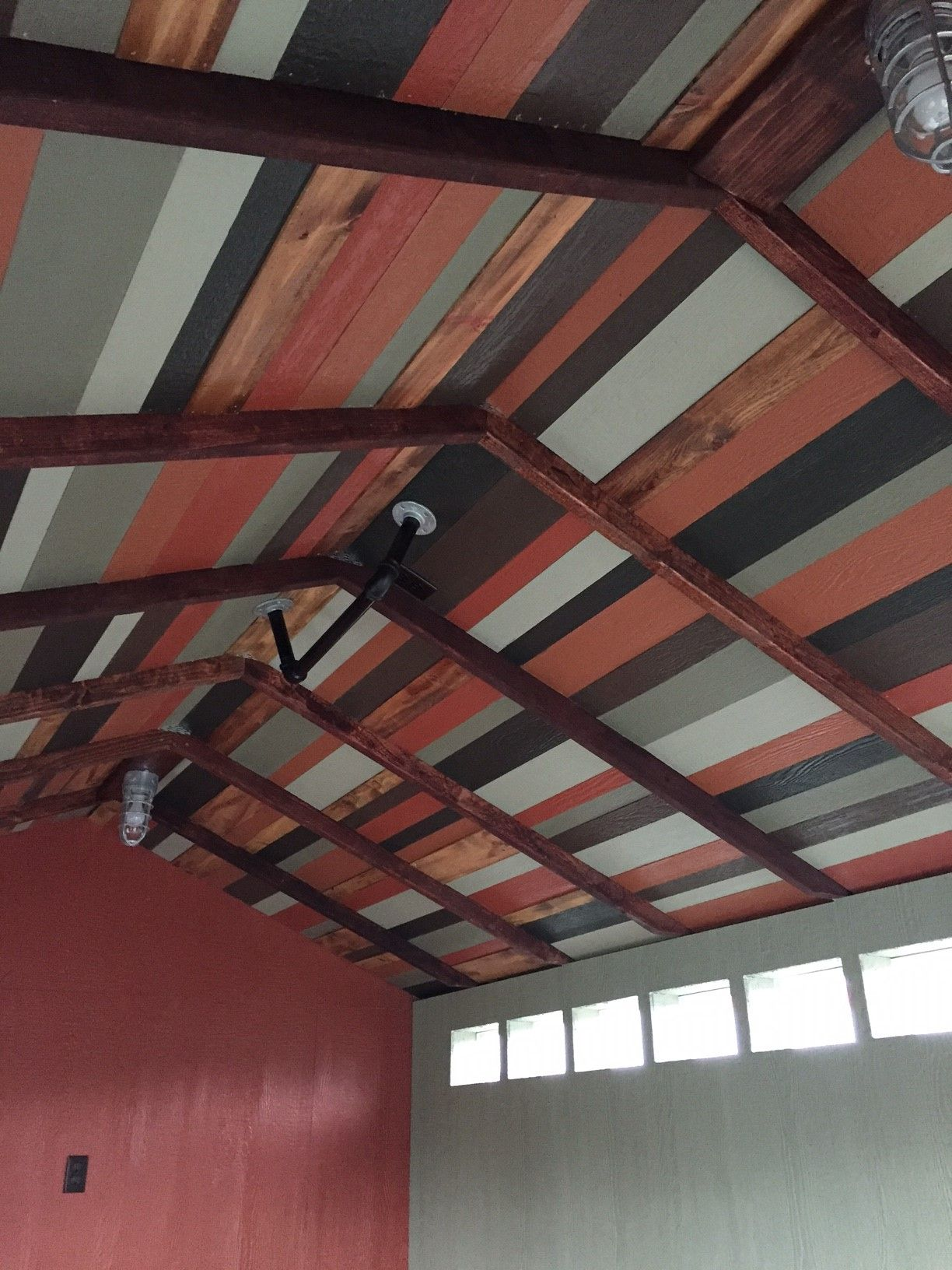 Multi Colored Reclaimed Wood Ceiling Fits Perfectly