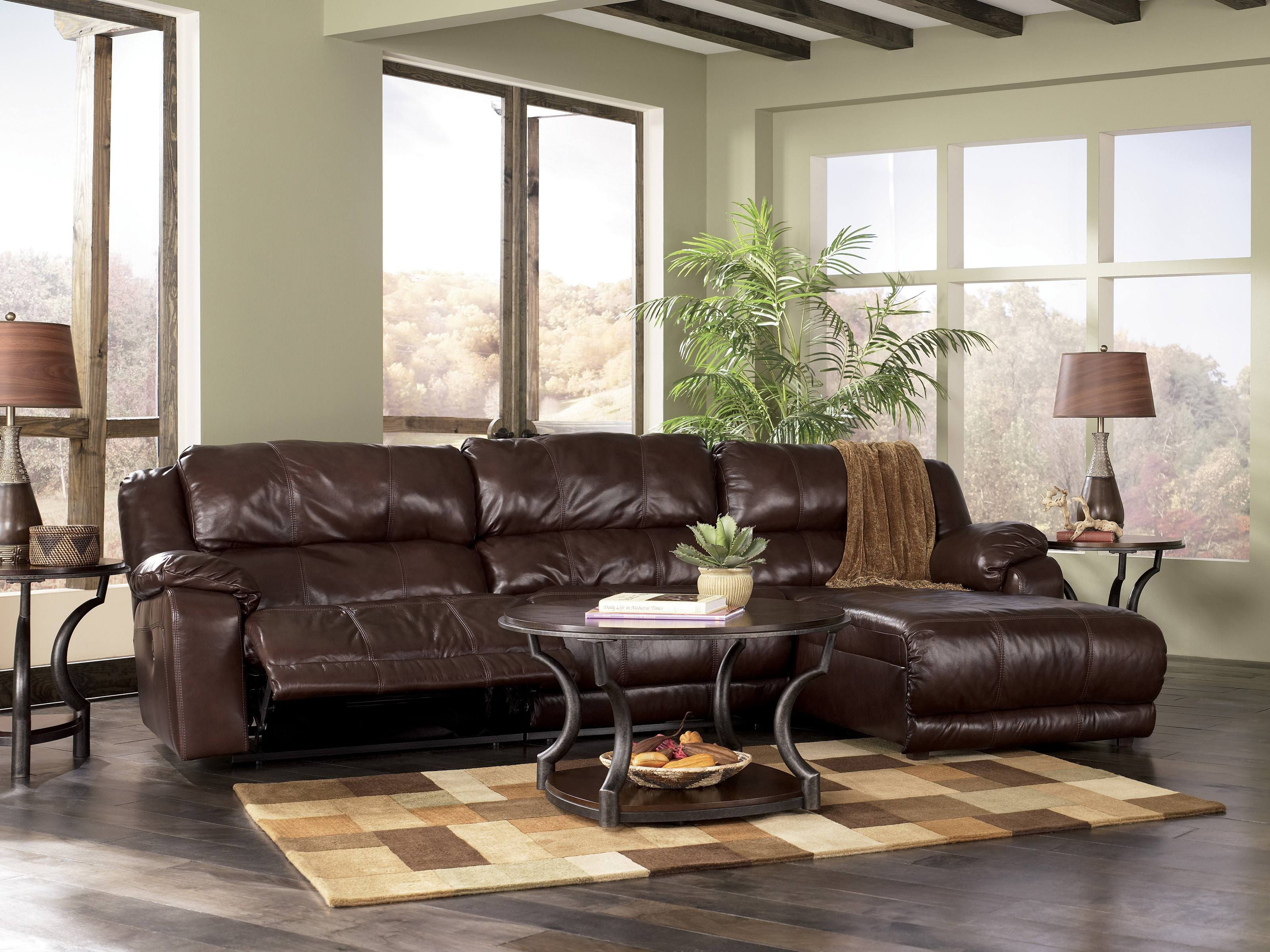Stanton 3 piece living room set brown - Sectional Sofas With Recliners Johnson Leather Sofa With Recliner And Chaise Sectional Couches