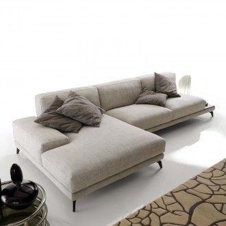 divano alexander in tessuto - modello con ampia penisola chaise ... - Angolo Chaise Whistler Grigio