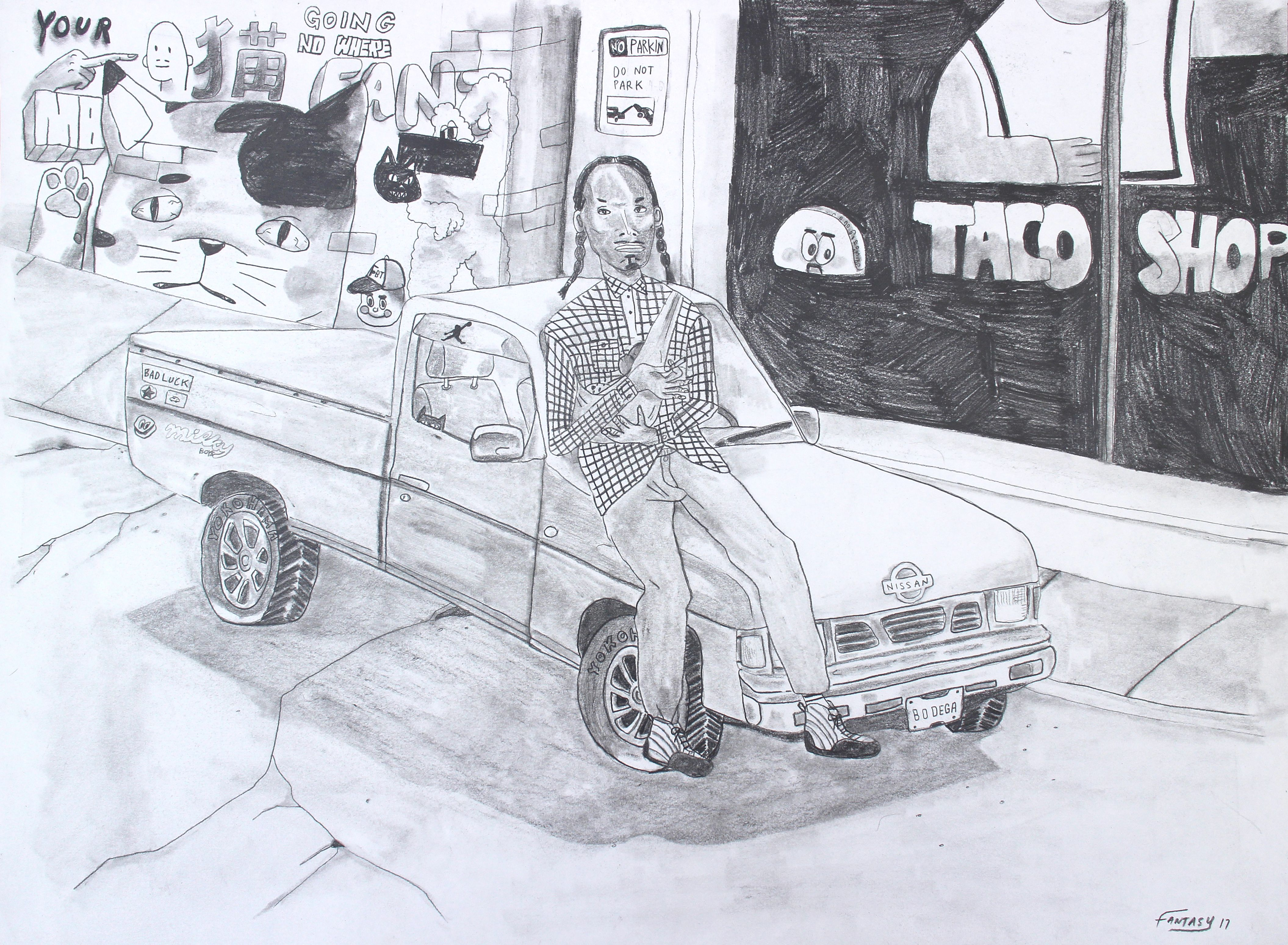Snoop Dogg's Nissan D21 - drawing - pencil on paper