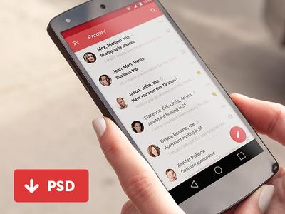 Material Gmail User Interface / FREE PSD 모바일 앱, 디자인 및 앱