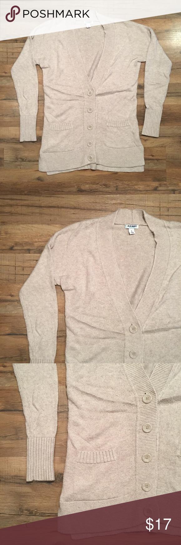 Old Navy cream wheat boyfriend cardigan sweater M This Old Navy ...
