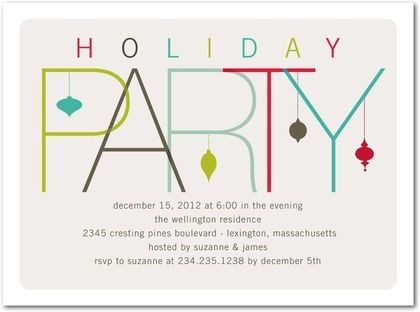Flat Holiday Party Invitations Contemporary Ornaments - Front - holiday party invitation