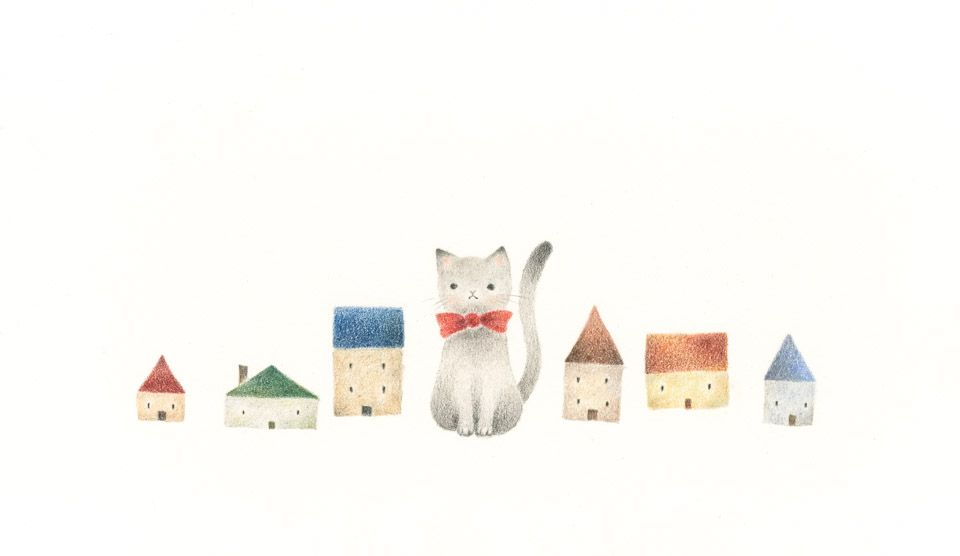 Cat S Miku And Small Houses Rili Picture Book Illustration