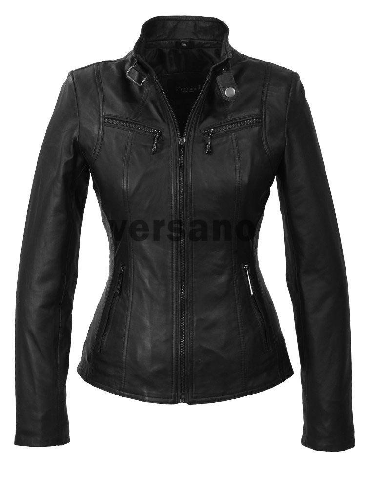 Leren jas dames zwart, dames leren jassen, Dames Leren Jas