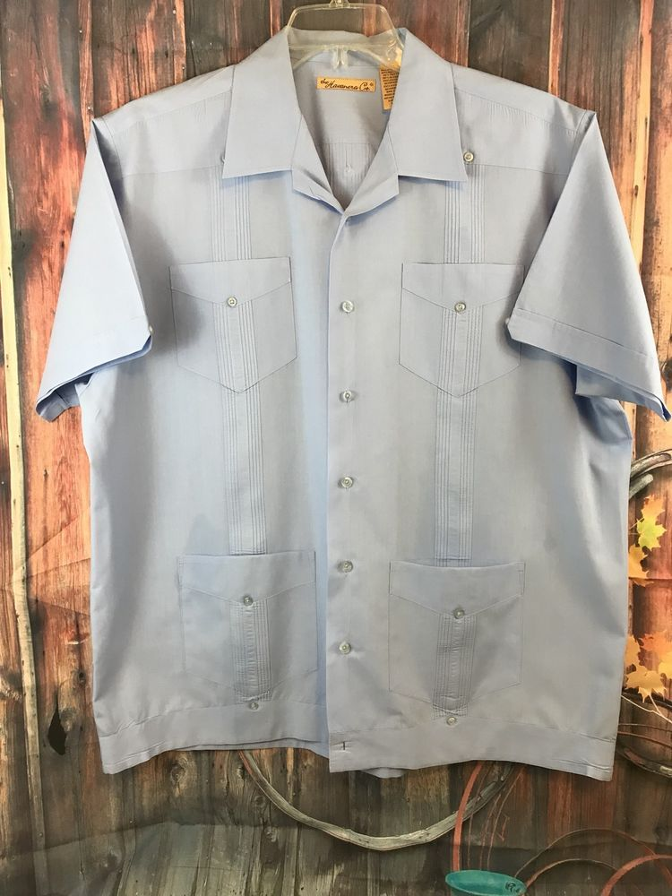 eef7b68d The Havanera Co Blue Mexican Wedding Cuban Cigar Lounge Shirt Size Large # Havanera #ButtonFront