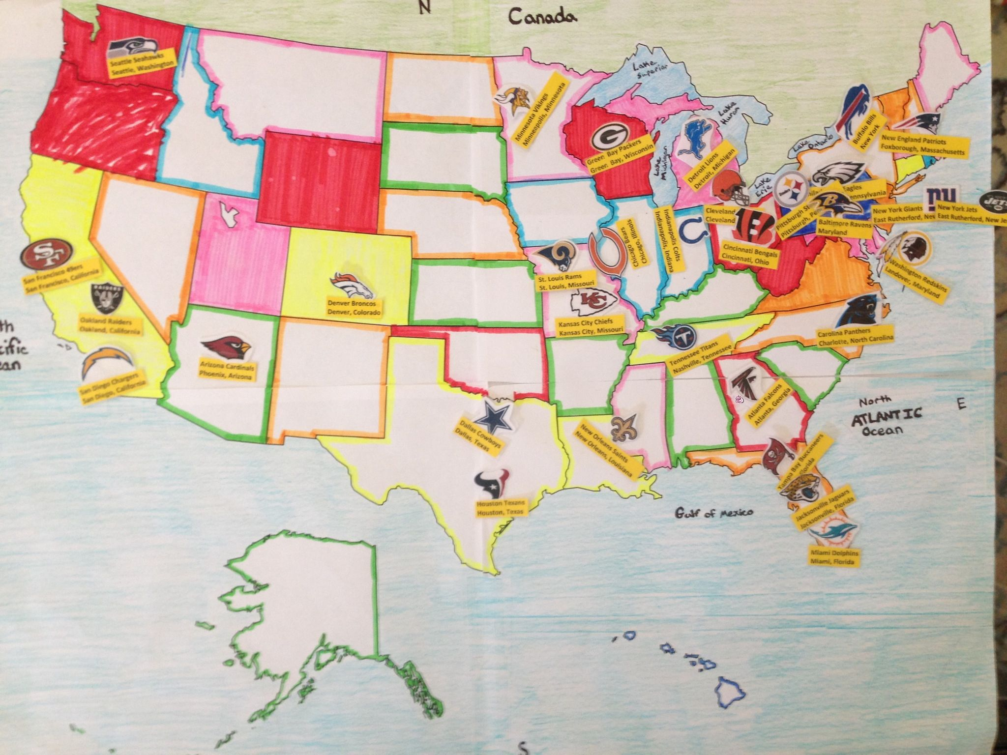 Fun Learning Ideas Going Into 3rd Grade Learning The Fifty 50 States - Us-map-nfl-teams