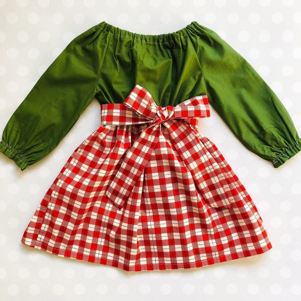 Christmas Plaid And Olive Dress Long Sleeve Holiday Dress Girls Christmas Dresses Baby Girl Christmas Dresses [ 1024 x 1024 Pixel ]