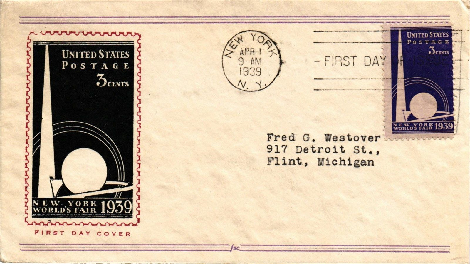 Dr Jim Stamps US Cover FDC New York Worlds Fair First Day Issue 1939 | eBay