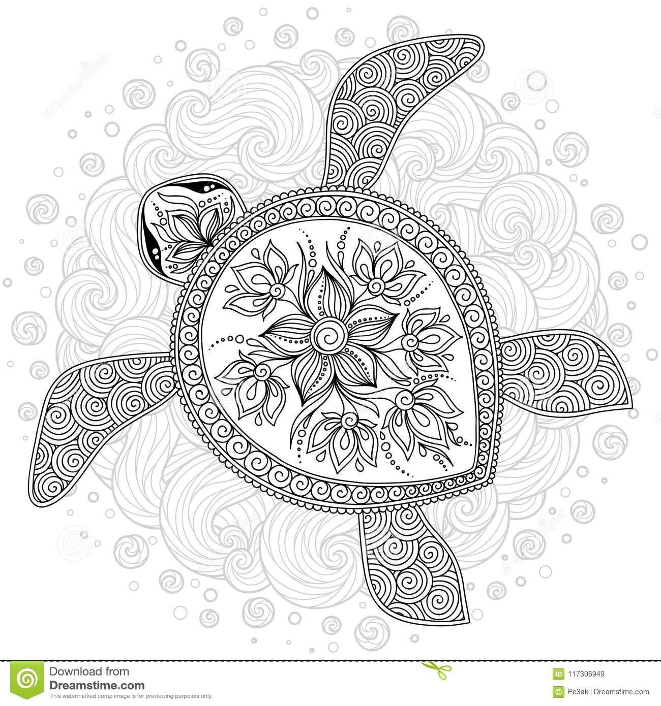 Vector Illustration Of Sea Turtle For Coloring Book Pages Turtle Coloring Pages Animal Coloring Pages Henna Animals