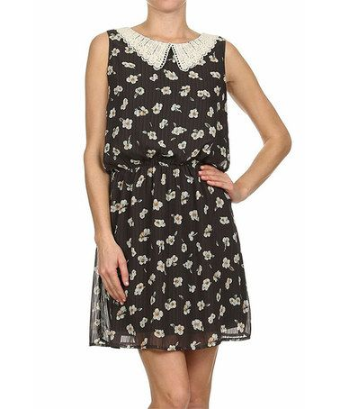 Another great find on #zulily! Charcoal Floral Blouson Dress by Le Lis Collection #zulilyfinds