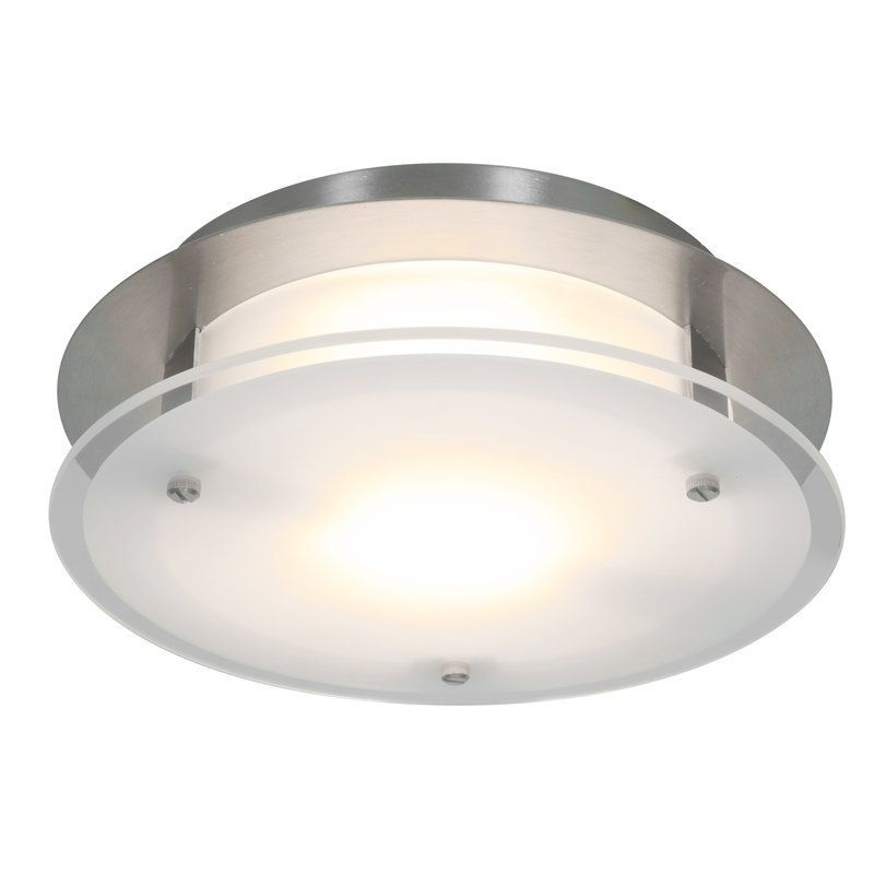 Access Lighting 50036 VisionRound 1 Light Flush Mount Ceiling Fixture Brushed Steel / Frosted Indoor Lighting Ceiling Fixtures Flush Mount
