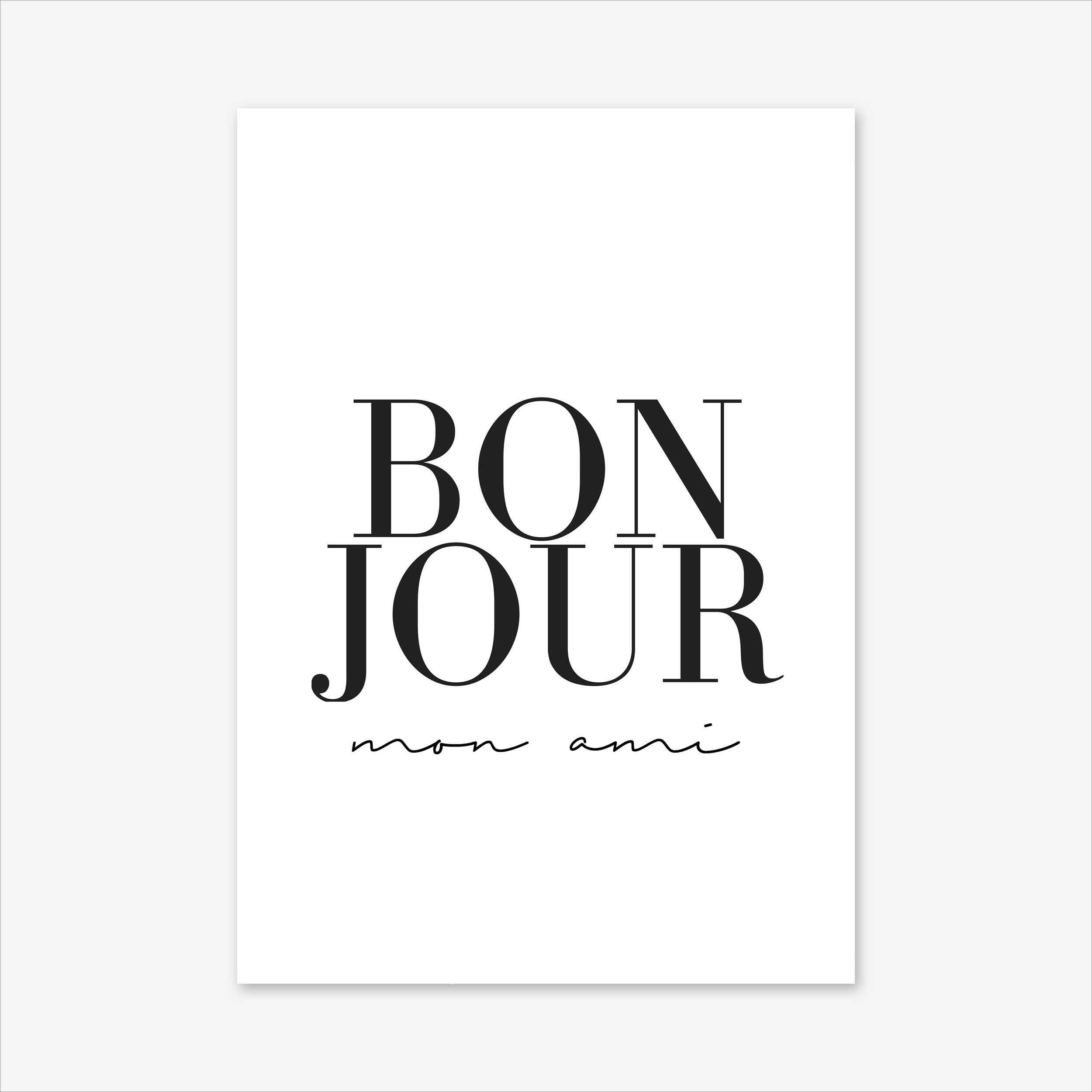 French Poster, Quote Prints, Bonjour Print, Paris Print, Typography ...