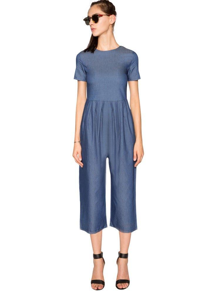 8606ab688d4 Denim Culotte Jumpsuit - Crop Wide Leg Jumpsuit