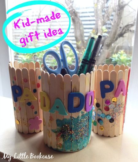 Personalised Paddle-Pop Stick Pen Holders. Perfect gifts that can be handmade by kids. My Little Bookcase