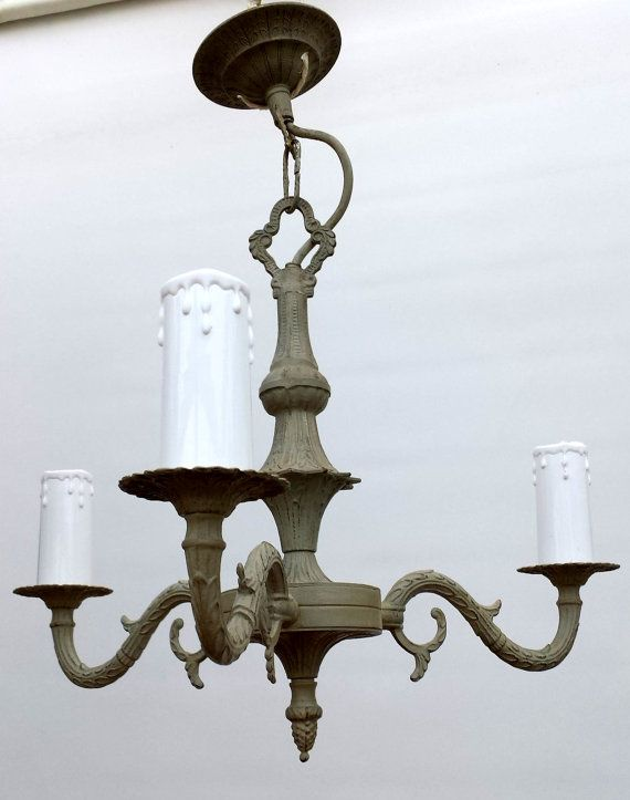 Verdigris Distressed 3 Arm Ceiling Pendant Light In Heavy Brass