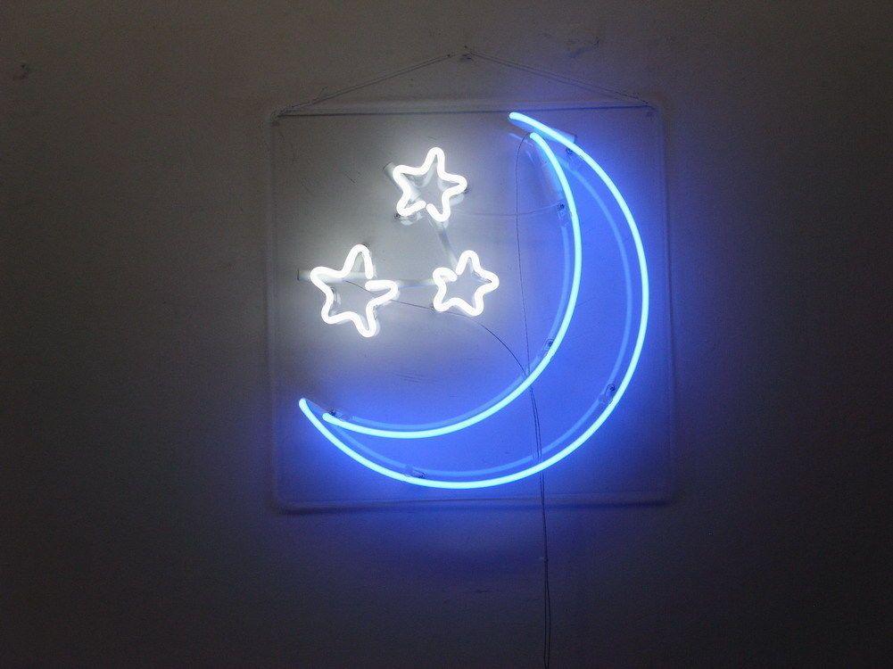 New Blue Moon With Star Neon Art Sign Handmade Visual Artwork Wall Decor Light Ebay