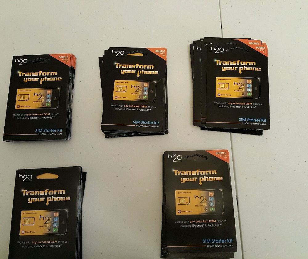 Lot of 50 h2o h20 wireless blank micro sim cards works