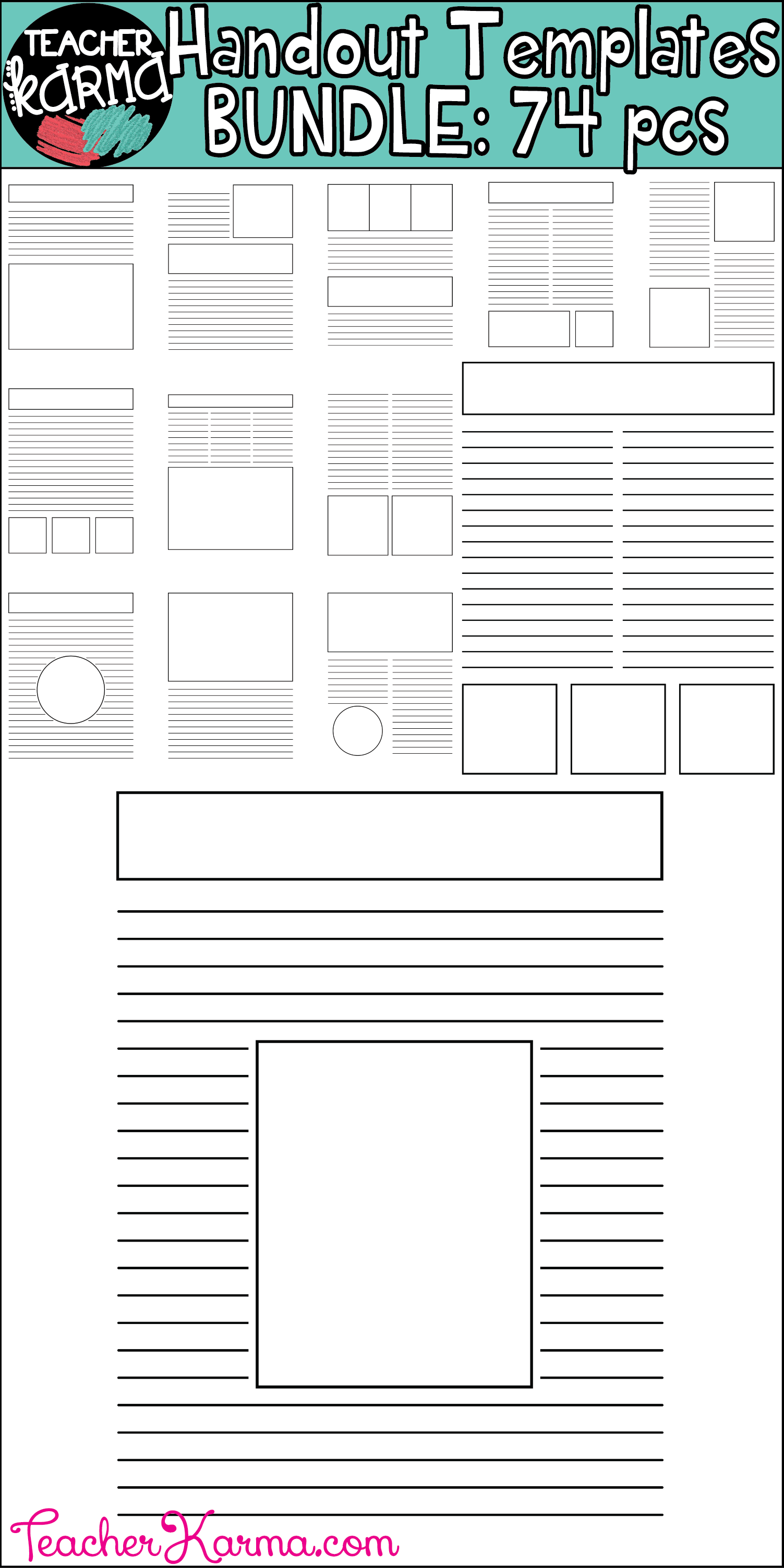 Handout / Worksheet Maker Template BUNDLE: 74 pcs | Resource teacher ...