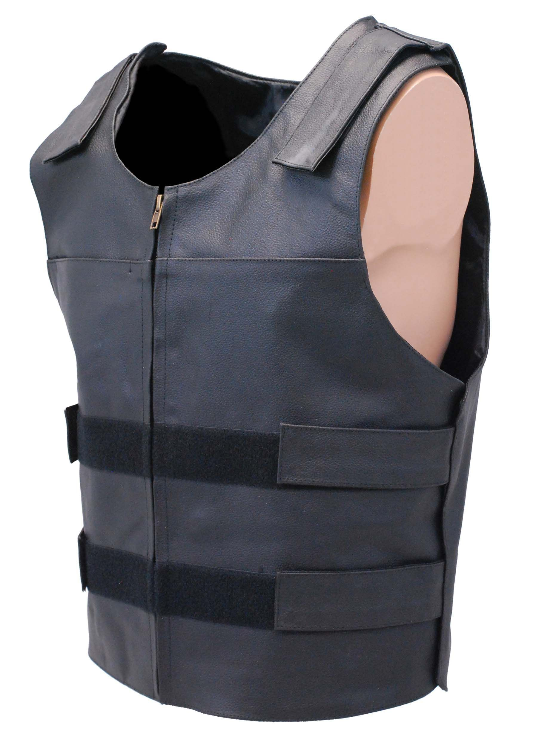 Black Police Safety Vest w/Front Zipper VM945ZK (With
