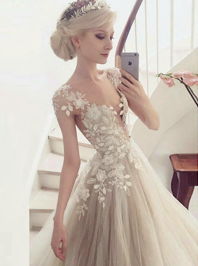 Photo of A-Line Round Cap Sleeves Light Champagne Wedding Dress with Appli