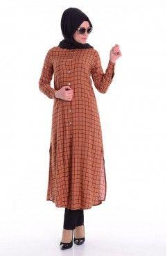 Sefamerve Kareli Tunik 6130 04 Bakir Muslim Women Fashion Muslim Fashion Hijab Modesty Outfits