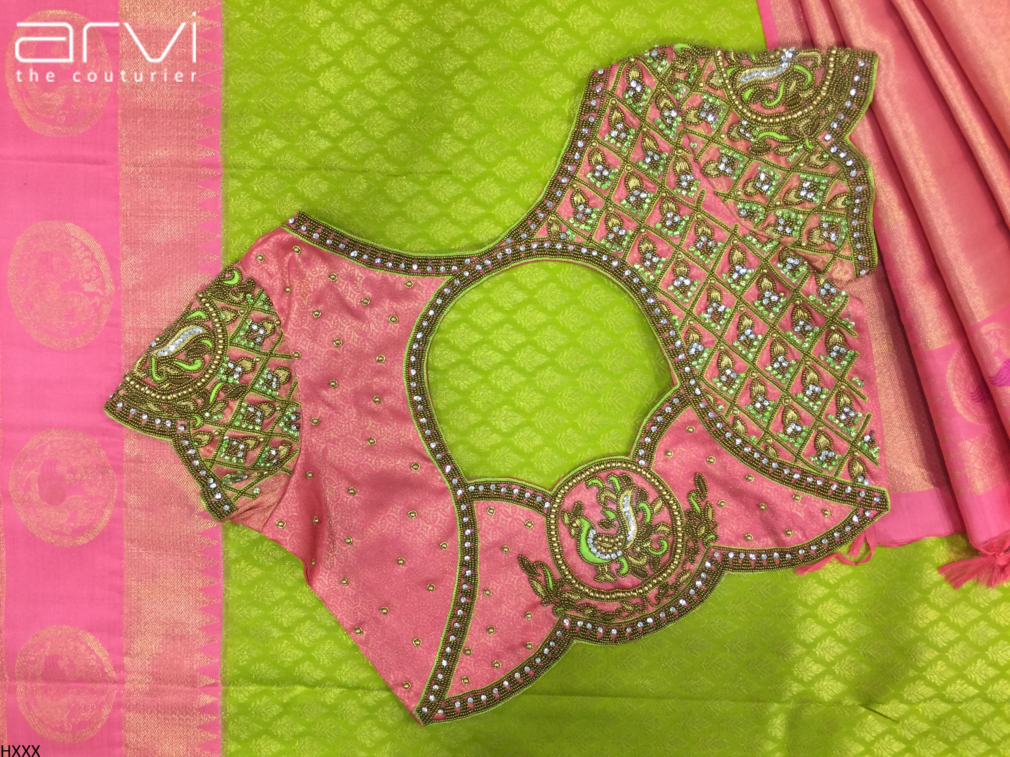 3c9a7d4341bb4e Custom-Tailored Aari work Blouses by Arvi the couturier #bride  #southindianbride #wedding #southindianwedding #prewedding #marriage #bridal  #love #pink ...
