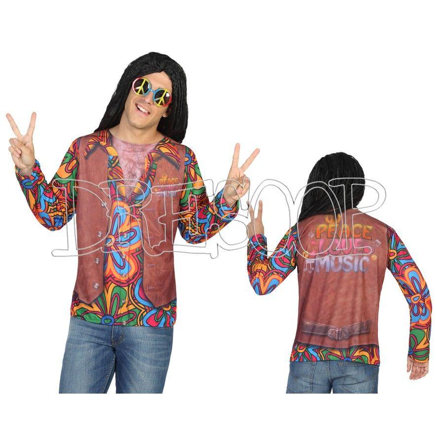Disfraz camiseta 3 D Hippie para hombre - Dresoop.es