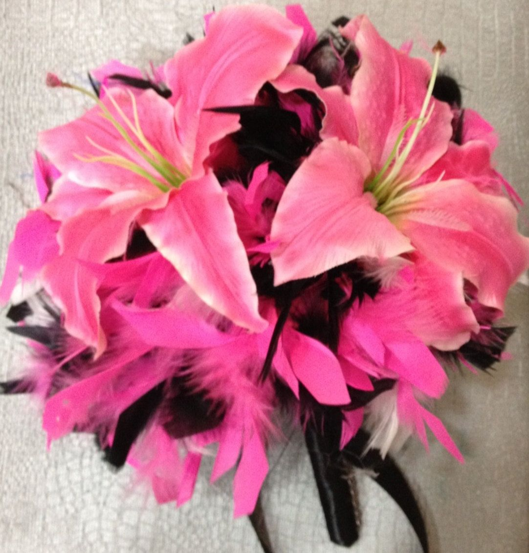Lily Flowers And Feathers Bridal Bouquet Crystal Fuchsia Hot Pink