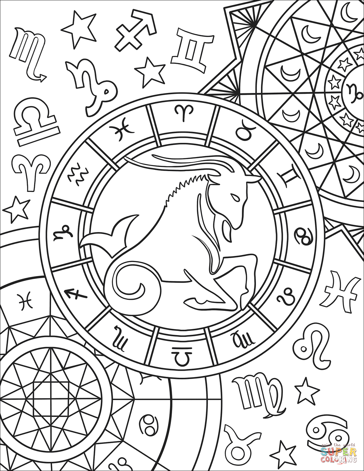 Capricorn Zodiac Sign Coloring Page Free Printable Coloring Pages Zodiac Signs Colors Coloring Pages Zodiac Capricorn