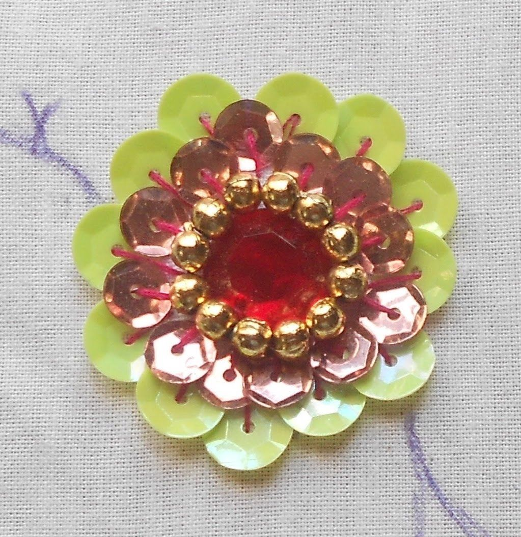 Hand embroidery how to do a big beautiful rosette sequin