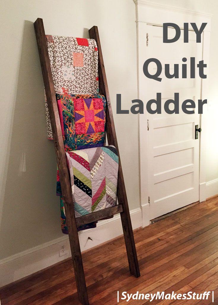 DIY Quilt Ladder Quilt ladder, Quilt display