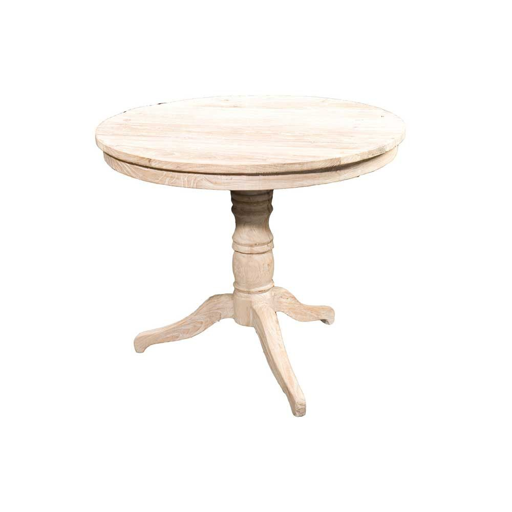 Four Hands Hughes Round Occasional Table In Whitewash Occasional