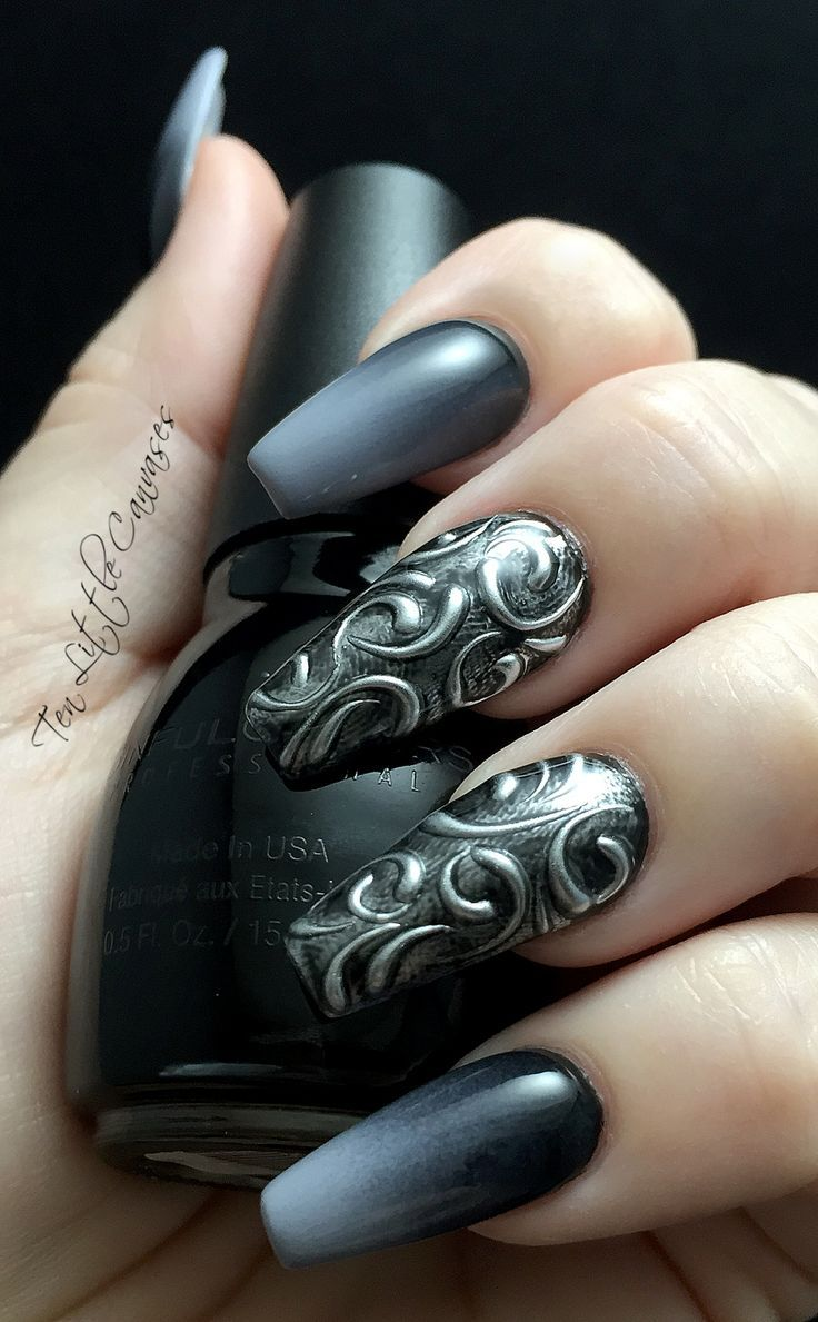 black and grey gradient with hand-drawn