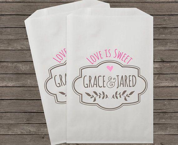 Wedding Favor Bags, Candy Buffet Bags, Rustic Wedding, Favor Bags, Personalized Wedding Favor Bags, Treat Bags, Custom Favor Bags, Kraft 037...