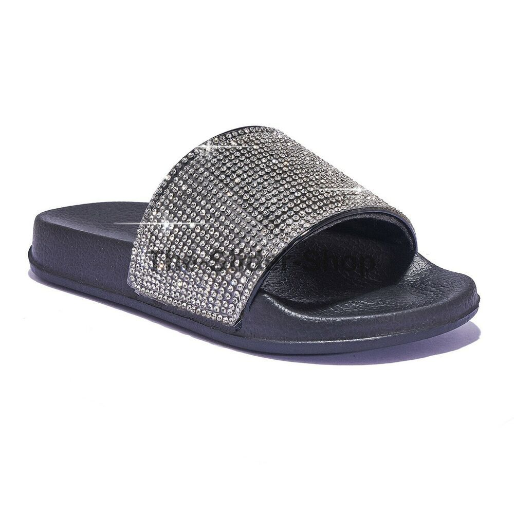 NEW Women Ladies Young Girls Flat Diamanté Sparkly Sliders Slipper Shoes