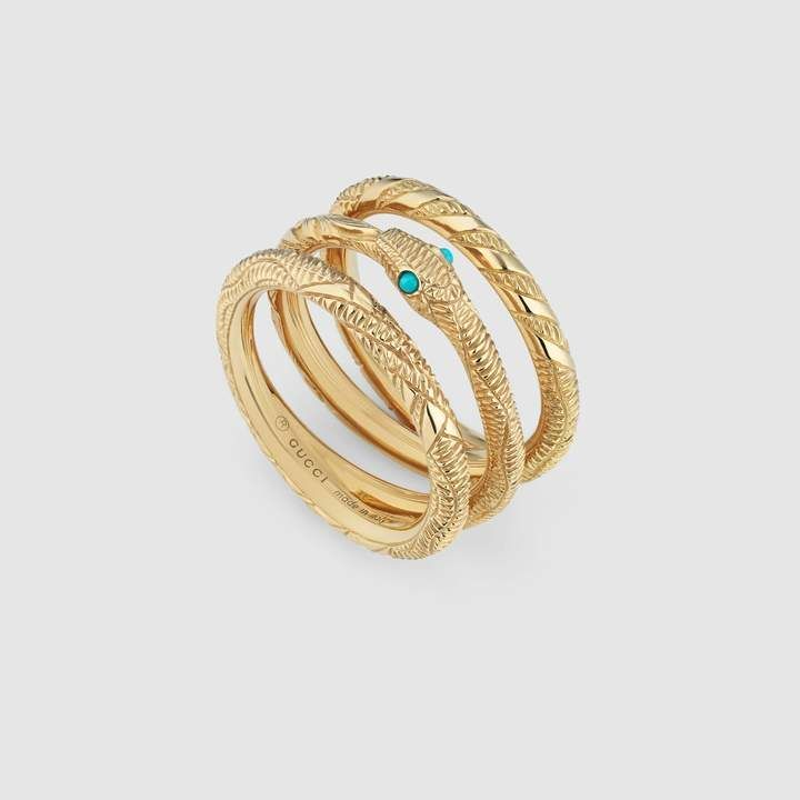 3e1e6bdbb Gucci Three band Ouroboros ring in yellow gold in 2019 | Products ...