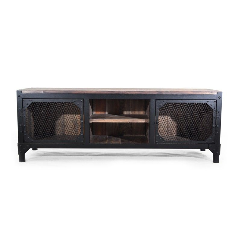 staten island tv sideboard tv schrank lowboard metall schwarz industrial notoria kommoden. Black Bedroom Furniture Sets. Home Design Ideas