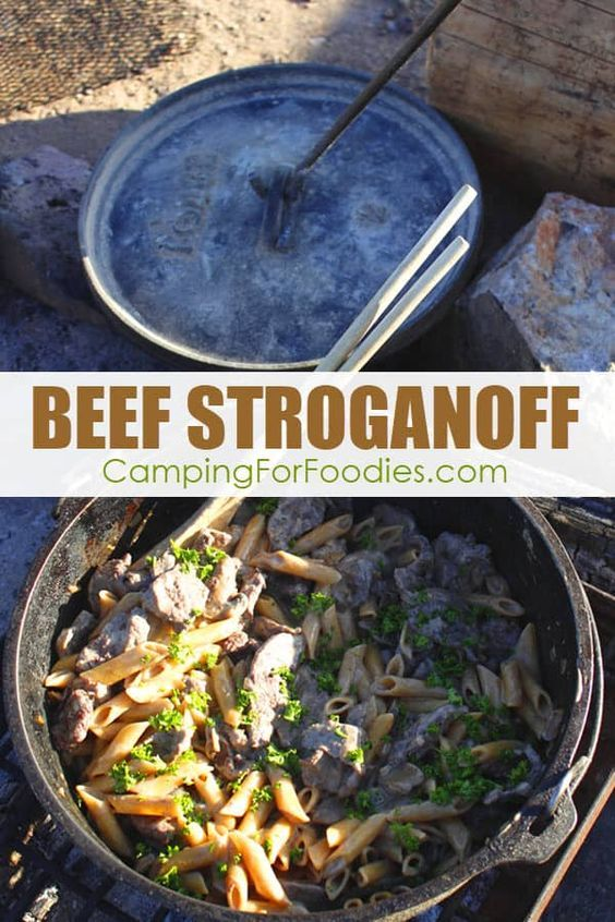When you are camping in cooler weather it is really nice to have a warm and hearty dinner. This Dutch Oven Beef Stroganoff Camping Recipe is a twist on the classic and made really easy for the campsite. Get more camping tips and RV hacks from CampingForFoodies. #camping #camp #RV #tips #hacks #CampingForFoodies #dutchoven #quick #easy #dutch #oven #dinner #recipes