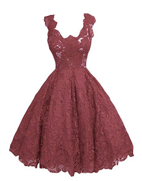 Broybuy Damen Kurz Spitze Applikationen Ballkleid Square Neck ...