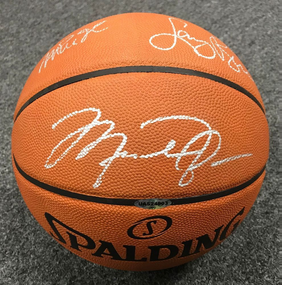 7d3d07e643ff Michael Jordan Magic Johnson   Larry Bird Signed Full Size Basketball UDA  COA  michaeljordan  autographs