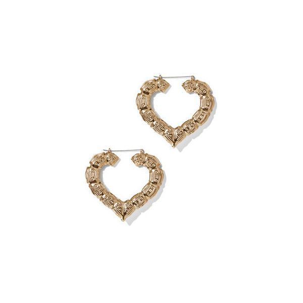 Heart-Shaped Bamboo Hoop Earring ($13) ❤ liked on Polyvore ...