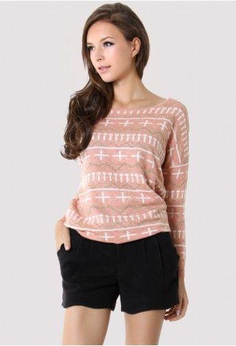2dfa6c099ee Dressed for comfort.   Cross Zig Zag Pattern Peach Sweater