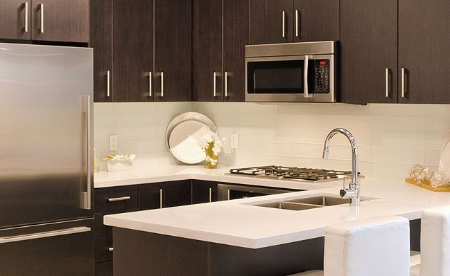 Modern Kitchen Backsplash Dark Cabinets harmonious hues balance: purr white 4×12 glass backsplash tile add