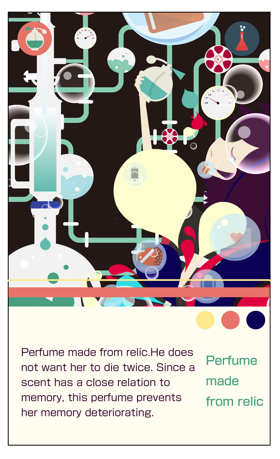 Perfume made ​​from relic.He does not want her to die twice. Since a scent has a close relation to memory, this perfume prevents her memory deteriorating. #Premonition