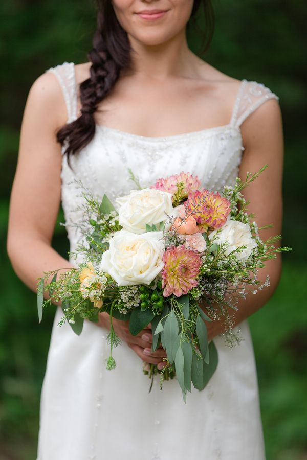 The Bride Carried A Bouquet Of Ivory Roses Two Tone